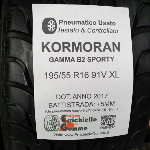 195/55 R16 91V XL Kormoran Gamma B2 Sporty – 60% +5mm Gomme Estive