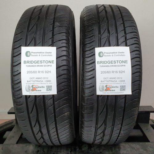 205/60 R16 92H Bridgestone Turanza ER300 Ecopia – 60% +5mm – Gomme Estive