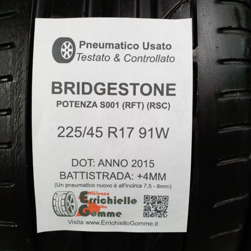225/45 R17 91W Bridgestone Potenza S001 (RFT) (RSC) Runflat – 50% +4mm – Gomme Estive
