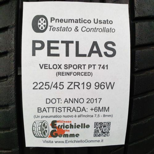 225/45 ZR19 96W Petlas Velox Sport PT 741 (Reinforced) – 70% +6mm – Gomme Estive
