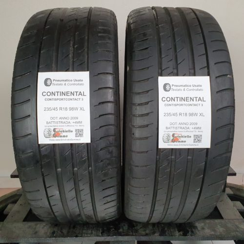 235/45 R18 98W XL Continental ContiSportContact 3 – 50% +4mm – Gomme Estive