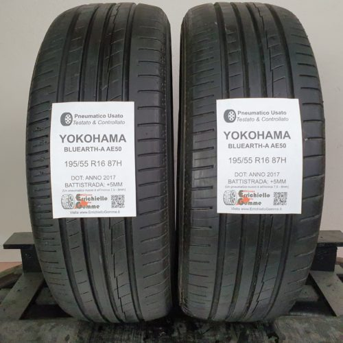 195/55 R16 87H Yokohama BluEarth-A AE50 – 60% +5mm Gomme Estive