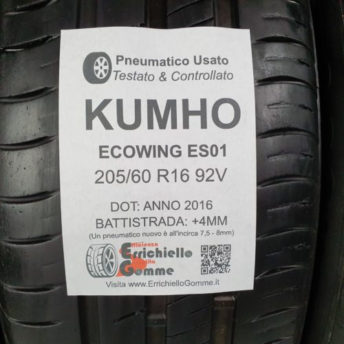 205/60 R16 92V Kumho EcoWing ES01 –  50% +4mm – Gomme Estive