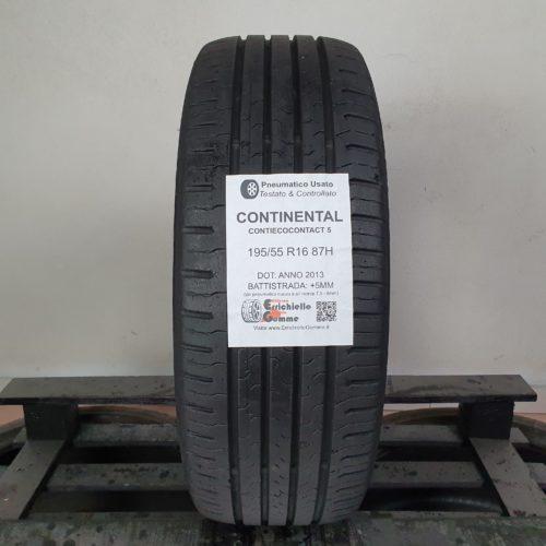 195/55 R16 87H Continental Contiecocontact 5  – 60% +5mm – Gomma Estiva