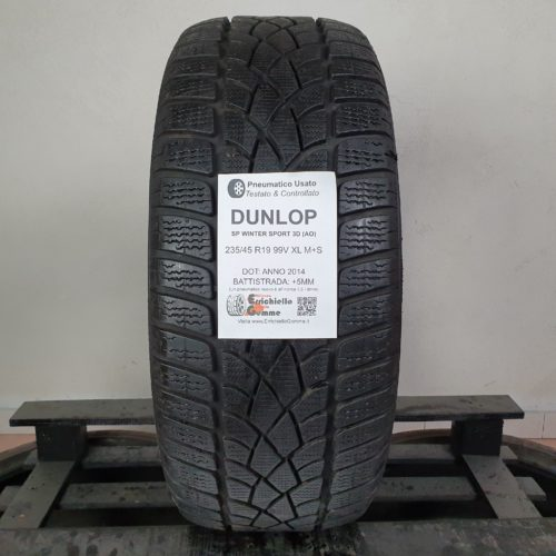 235/45 R19 99V XL M+S Dunlop SP Winter Sport 3D (AO) – 60% +5mm – Gomma Invernale