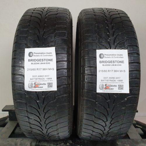215/60 R17 96H M+S Bridgestone Blizzak LM-80 Evo – 50% +4mm – Gomme Invernali