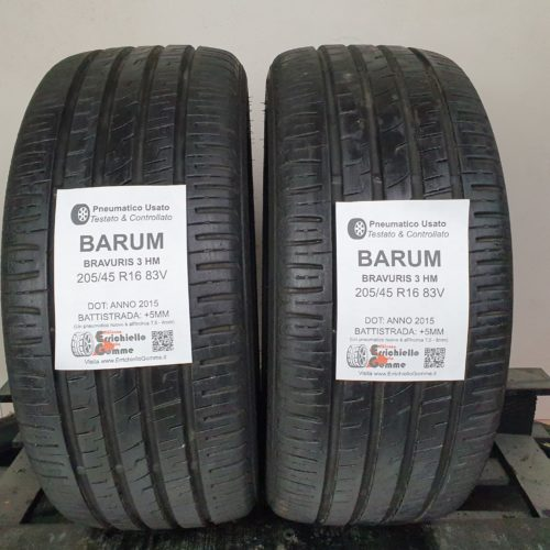 205/45 R16 83V Barum Bravuris 3 HM –  60% +5mm – Gomme Estive