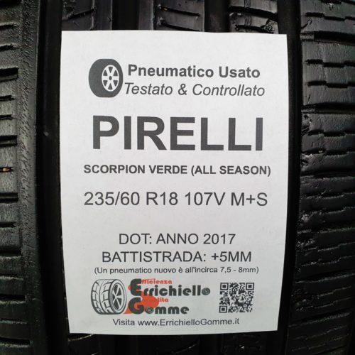 235/60 R18 107V M+S Pirelli Scorpion Verde (All Seasons) – 60% +5mm – Gomme 4 Stagioni