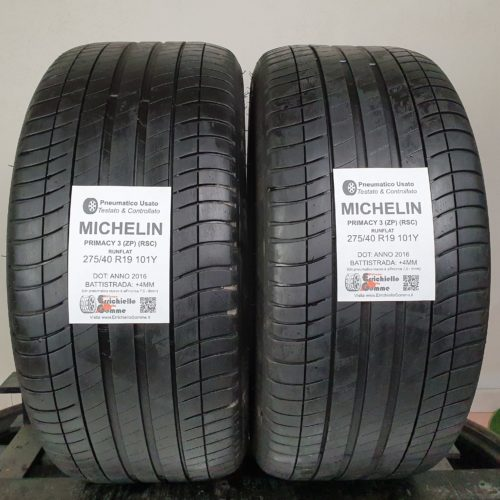 275/40 R19 101Y Michelin Primacy 3 (ZP) (RSC) Runflat –  50% +4mm – Gomme Estive