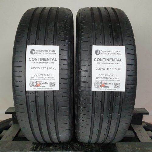 205/55 R17 95V XL Continental ContiPremiumContact 5 – 60% +5mm Gomme Estive