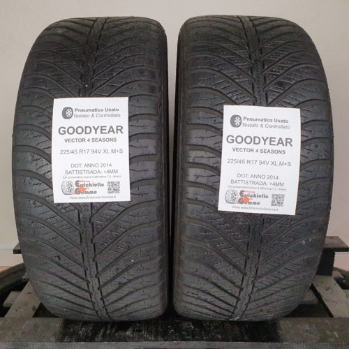 225/45 R17 94V XL M+S Goodyear Vector 4 Seasons – 50% +4mm – Gomme 4 Stagioni
