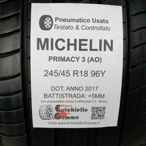 245/45 R18 96Y Michelin Primacy 3 (AO) –  60% +5mm Gomme Estive
