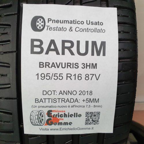 195/55 R16 87V Barum Bravurs 3HM – 60% +5mm Gomme Estive