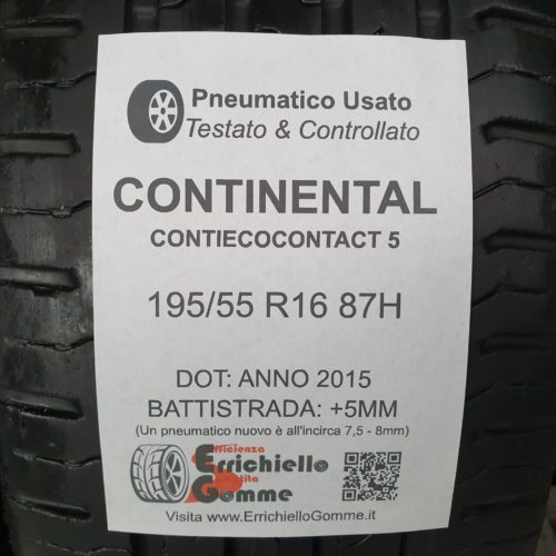 195/55 R16 87H Continental ContiEcoContact 5 – 60% +5mm Gomme Estive