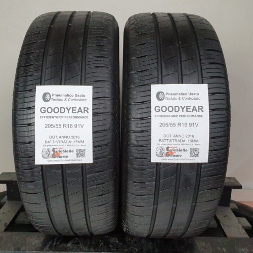 205/55 R16 91V Goodyear EfficientGrip Performance – 60% +5mm Gomme Estive