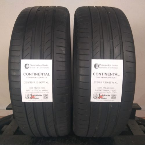 225/45 R19 96W XL Continental ContiSportContact 5 –  50% +4mm – Gomme Estive
