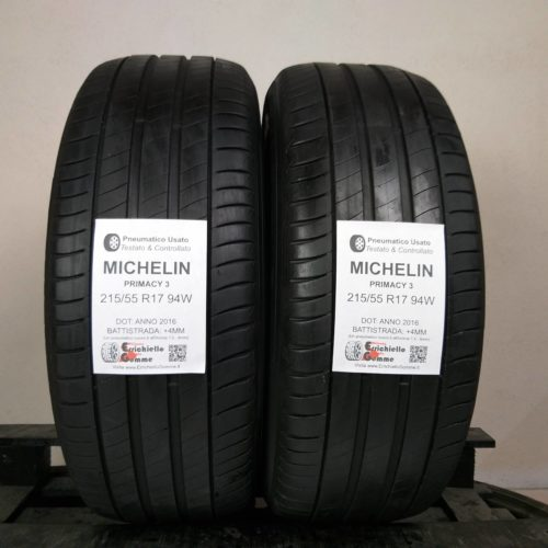215/55 R17 94W Michelin Primacy 3 – 50% +4mm – Gomme Estive