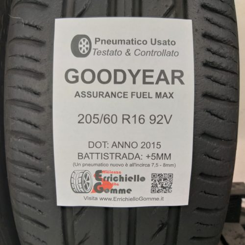 205/60 R16 92V Goodyear Assurance Fuel Max – 60% +5mm – Gomme Estive