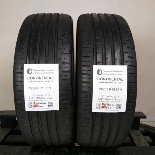 195/55 R16 87H Continental ContiPremiumContact 5 – 50% +4mm – Gomme Estive