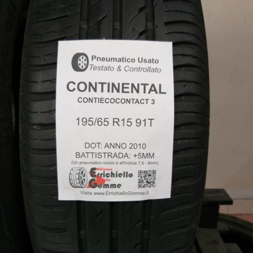 195/65 R15 91T Continental ContiEcoContact 3 – 60% +5mm – Gomme Estive