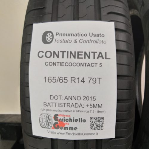 165/65 R14 79T Continental ContiEcoContact 5 – 60% +5mm – Gomme Estive