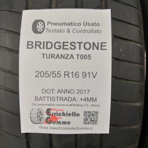 205/55 R16 91V Bridgestone Turanza T005 – 50% +4mm – Gomme Estive