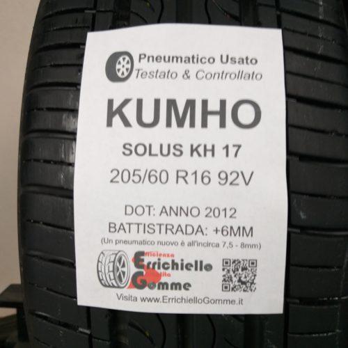 205/60 R16 92V Kumho Solus KH17 – 70% +6mm – Gomme Estive