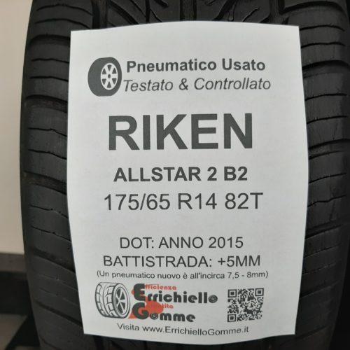 175/65 R14 82T Riken AllStar 2 B2 –  60% +5mm Gomme Estive