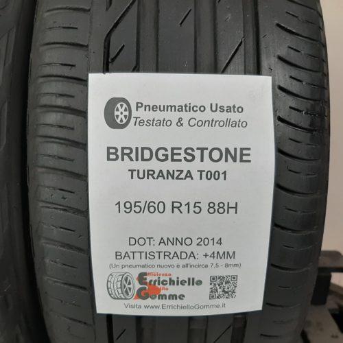 195/60 R15 88H Bridgestone Turanza T001 – 50% +4mm Gomme Estive