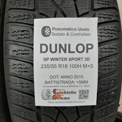 235/55 R18 100H M+S Dunlop SP Winter Sport 3D – 60% +5mm Gomme Invernali