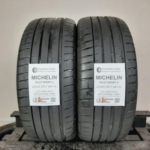 225/45 ZR17 94Y XL Michelin Pilot Sport 4 – 60% +5mm – Gomme Estive