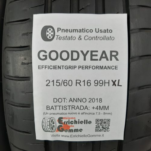 215/60 R16 99H XL Goodyear EfficientGrip Performance – 50% +4mm – Gomme Estive