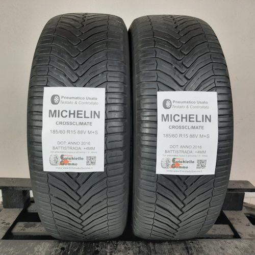 185/60 R15 88V M+S Michelin CrossClimate – 50% +4mm – Gomme 4 Stagioni