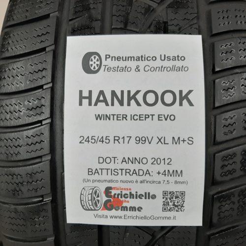 245/45 R17 99V XL M+S Hankook Winter Icept Evo – 50% +4mm Gomme Invernali