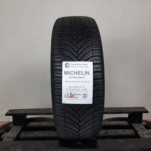 195/55 R16 91V XL M+S Michelin CrossClimate – 50% +4mm – Gomma 4 Stagioni