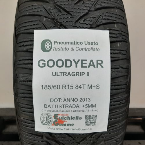 185/60 R15 84T M+S Goodyear UltraGrip 8 – 60% +5mm – Gomma Invernale