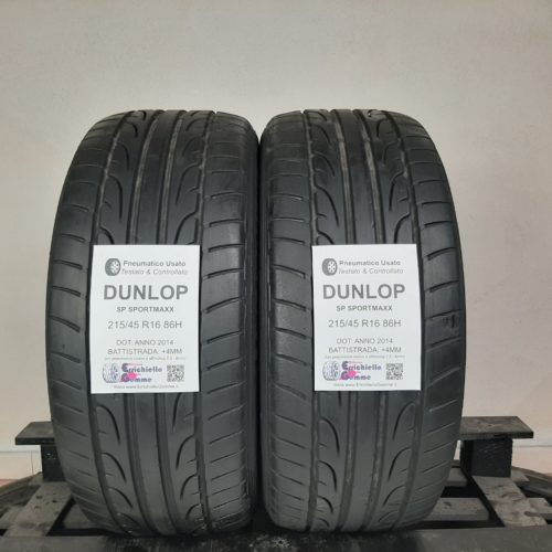 215/45 R16 86H Dunlop SP Sportmaxx – 50% +4mm – Gomme Estive