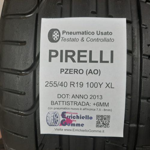 255/40 R19 100Y XL Pirelli PZero (AO)   – 70% +6mm Gomme Estive