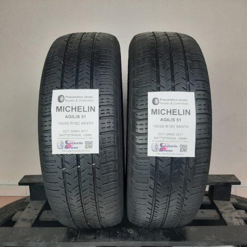 195/60 R16C 99/97H Michelin Agilis 51 – 60% +5mm – Gomme Estive