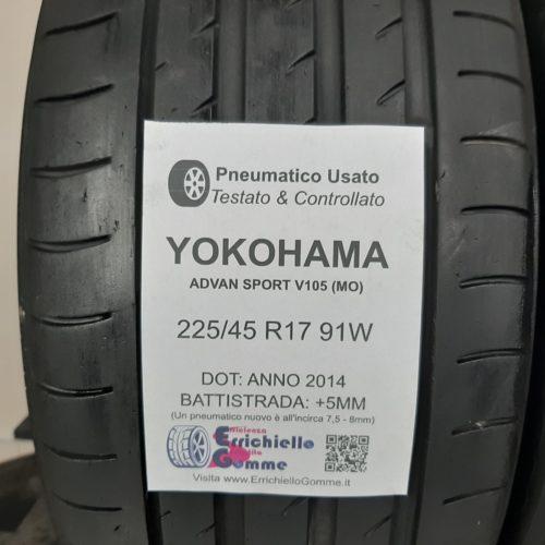 225/45 R17 91W Yokohama Advan Sport V105 (MO) – 60% +5mm – Gomme Estive