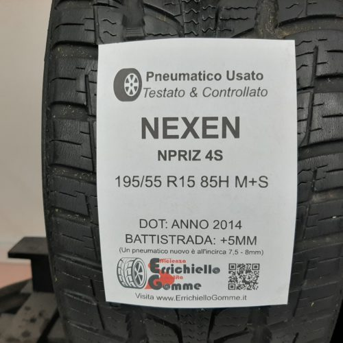 195/55 R15 85H M+S Nexen NPriz 4S –  60% +5mm – Gomme 4 Stagioni