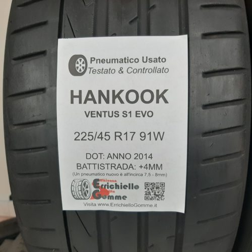225/45 R17 91W Hankook Ventus S1 Evo – 50% +4mm – Gomme Estive