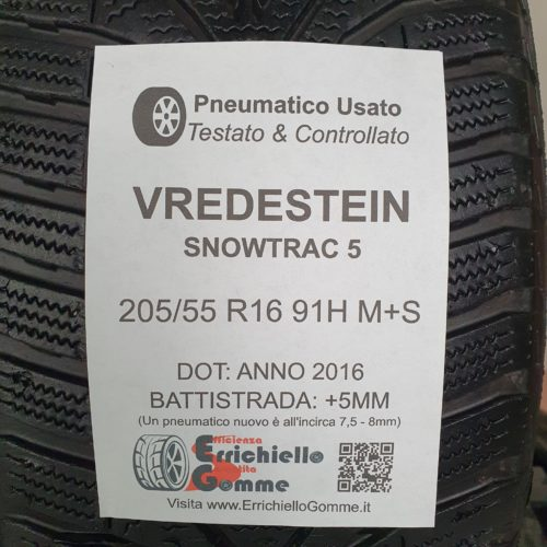 205/55 R16 91H M+S Vredstein SnowTrac 5 – 60% +5mm Gomme Invernali