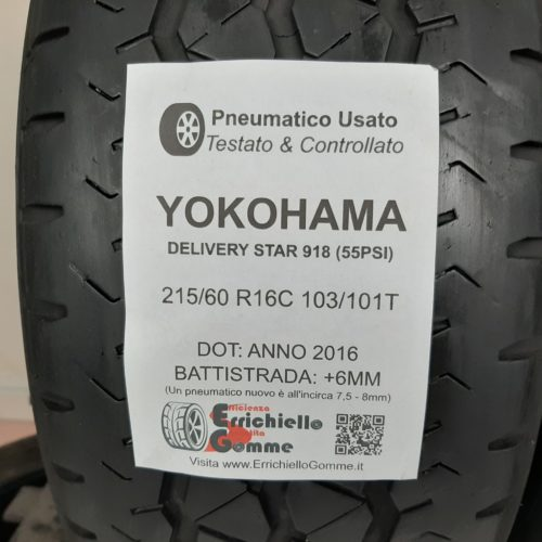 215/60 R16C 103/101T Yokohama Delivery Star 918 (55 PSI) –  70% +6mm – Gomme Estive Trasporto