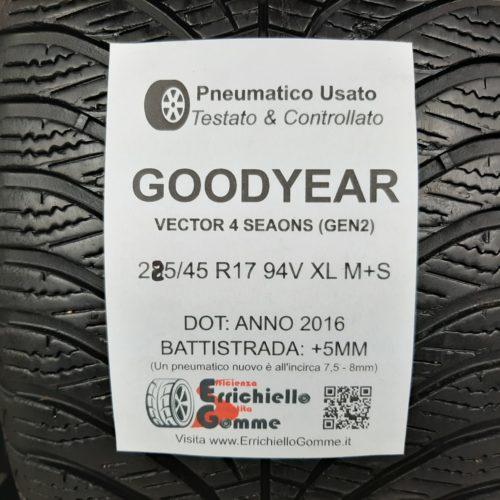 225/45 R17 94V XL M+S Goodyear Vector 4 Seasons (GEN2) – 60% +5mm – Gomma 4 Stagioni