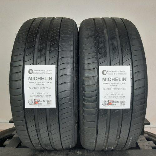 245/40 R19 98Y XL Michelin Primacy 3 (ZP) (RSC) (MOE) Runflat – 60% +5mm – Gomme Estive