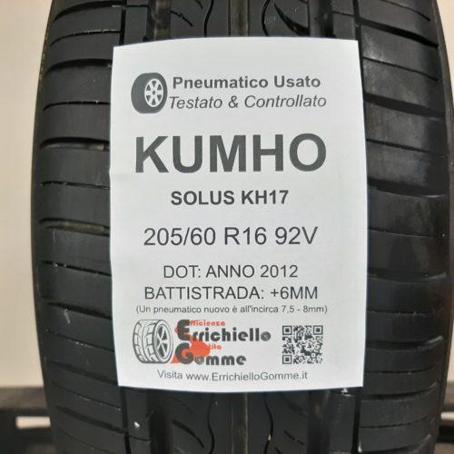 205/60 R16 92V Kumho Solus KH17 – 70% +6mm – Gomma Estiva