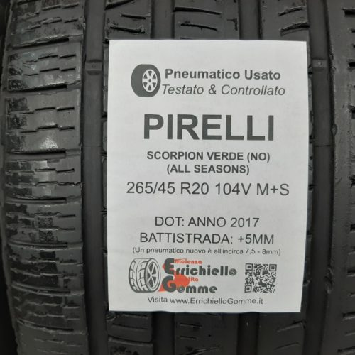 265/45 R20 104V M+S Pirelli Scorpion Verde All Seasons (NO) –  60% +5mm – Gomme 4 Stagioni