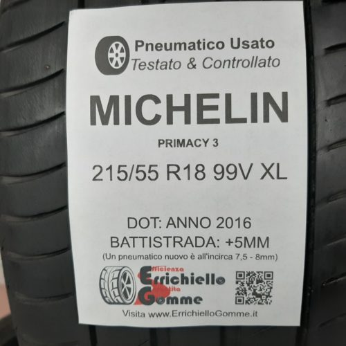 215/55 R18 99V XL Michelin Primacy 3 – 60% +5mm – Gomme Estive
