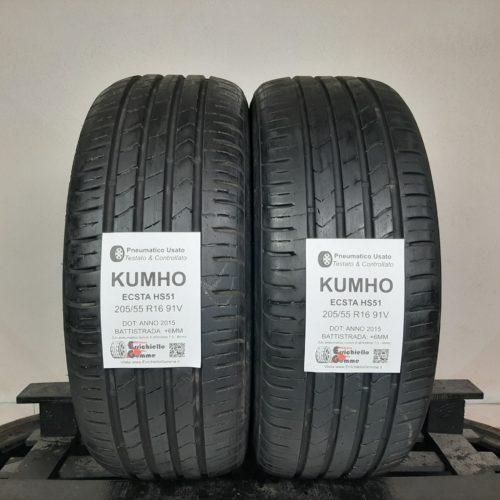 205/55 R16 91V Kumho Ecsta HS51 –  70% +6mm – Gomme Estive